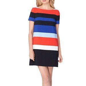 Tahari 10 Blue Red Shift dress Cap Sleeve Career